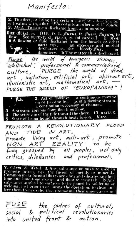 Fluxux Manifesto nr1, George Maciunas, 1962