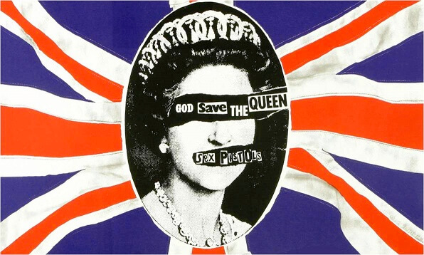 Omslag singel Sex Pistols, Good Save the Queen, Jamie Reid, 1977